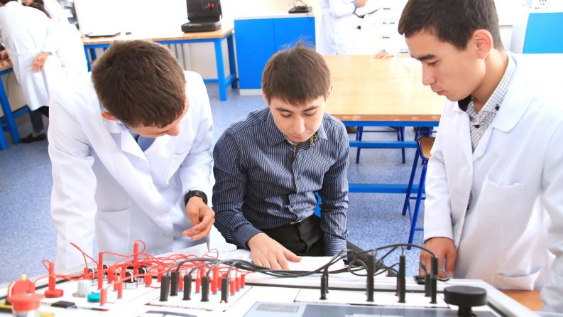 Satbayev University students at testing laboratory